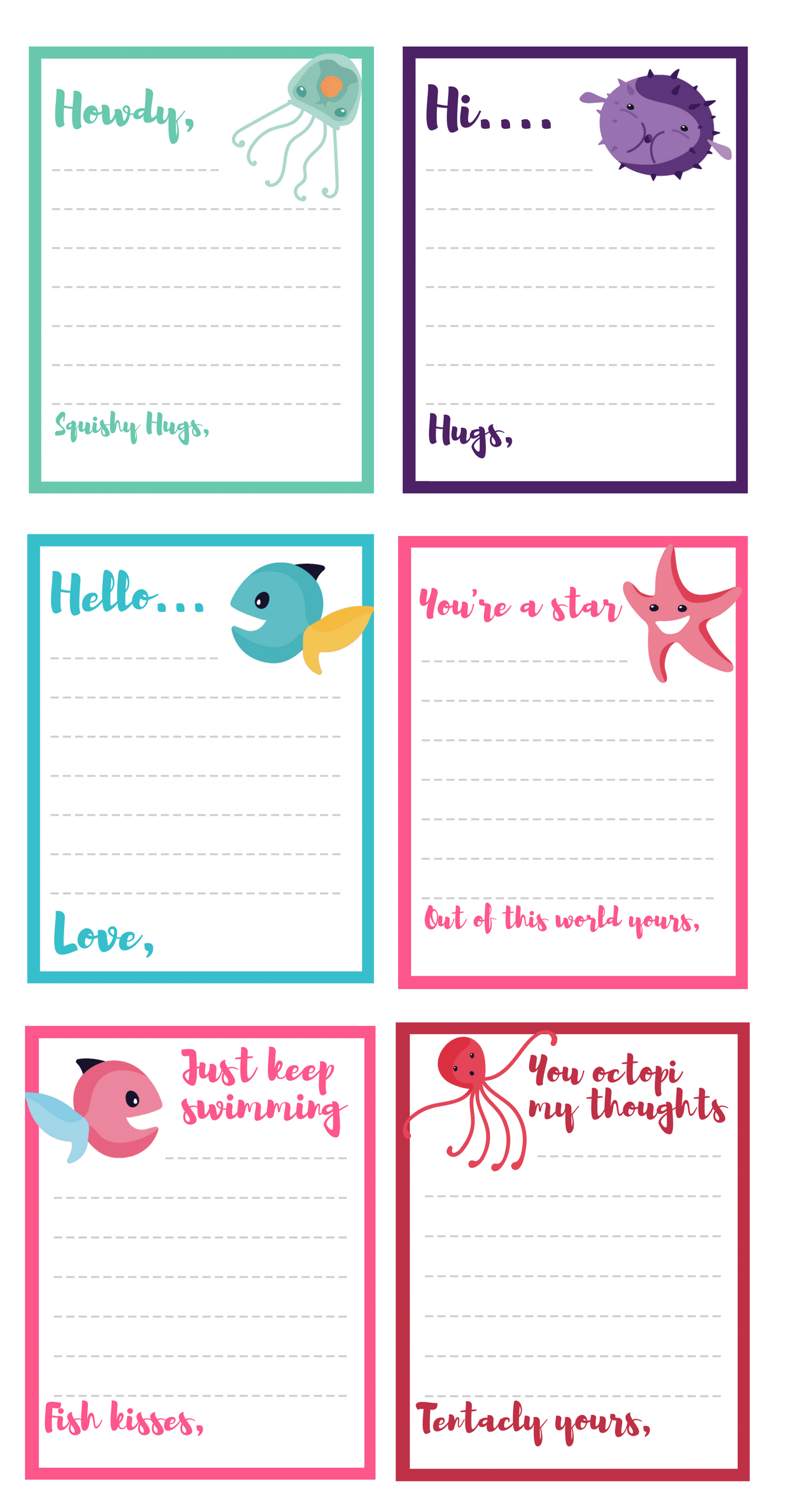 all under the sea notecards - Printable Note Cards