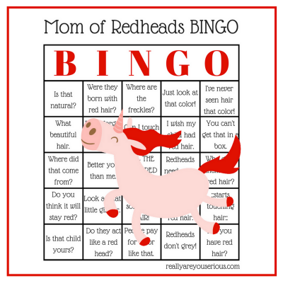 redhead bingo for parents