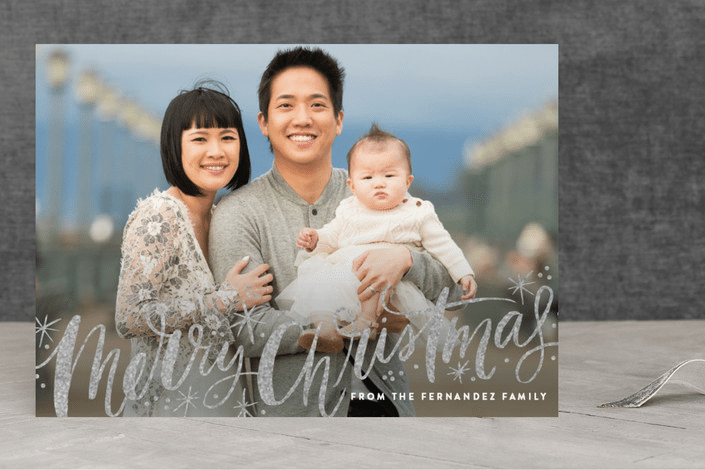 Merry Christmas Sparkle Snow Foil-Pressed Holiday Cards