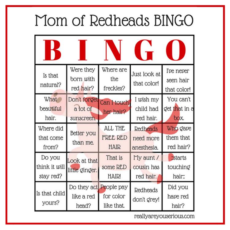 Mom of redheads bingo square