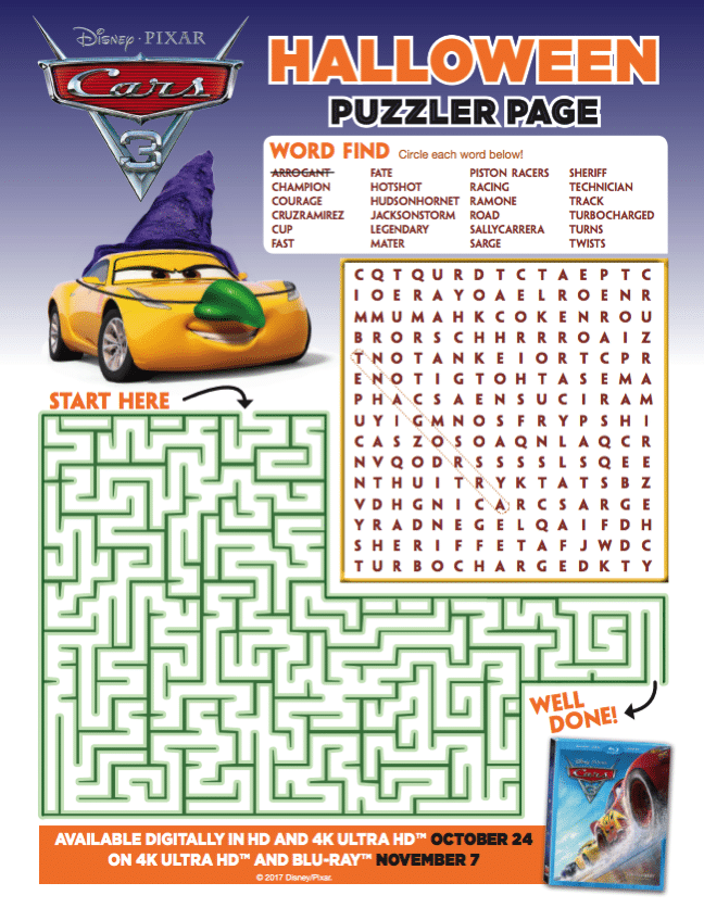 Cars 3 printable puzzle
