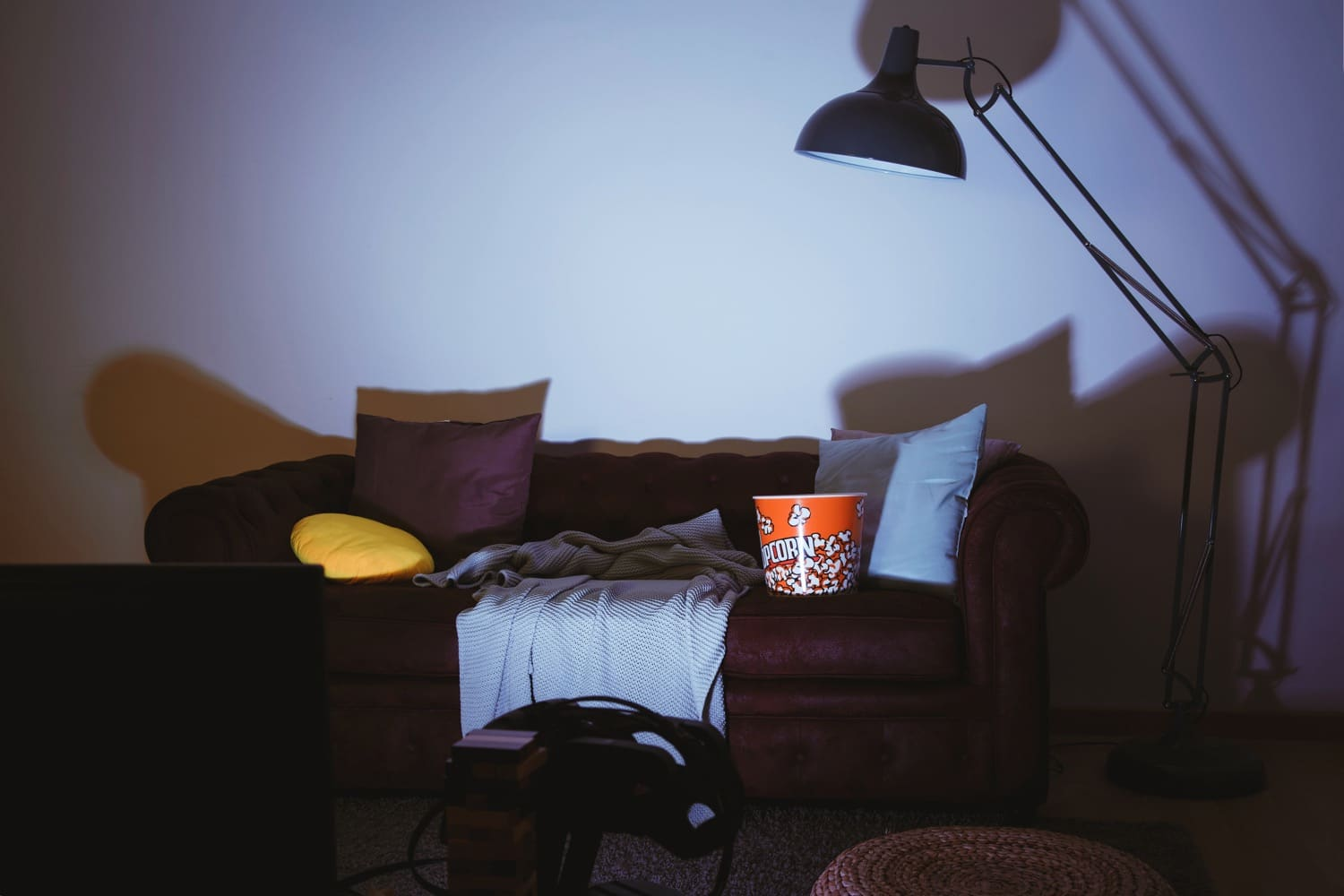 empty couch and tv