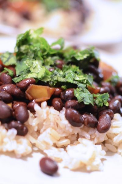 Black beans and rice with cilantro