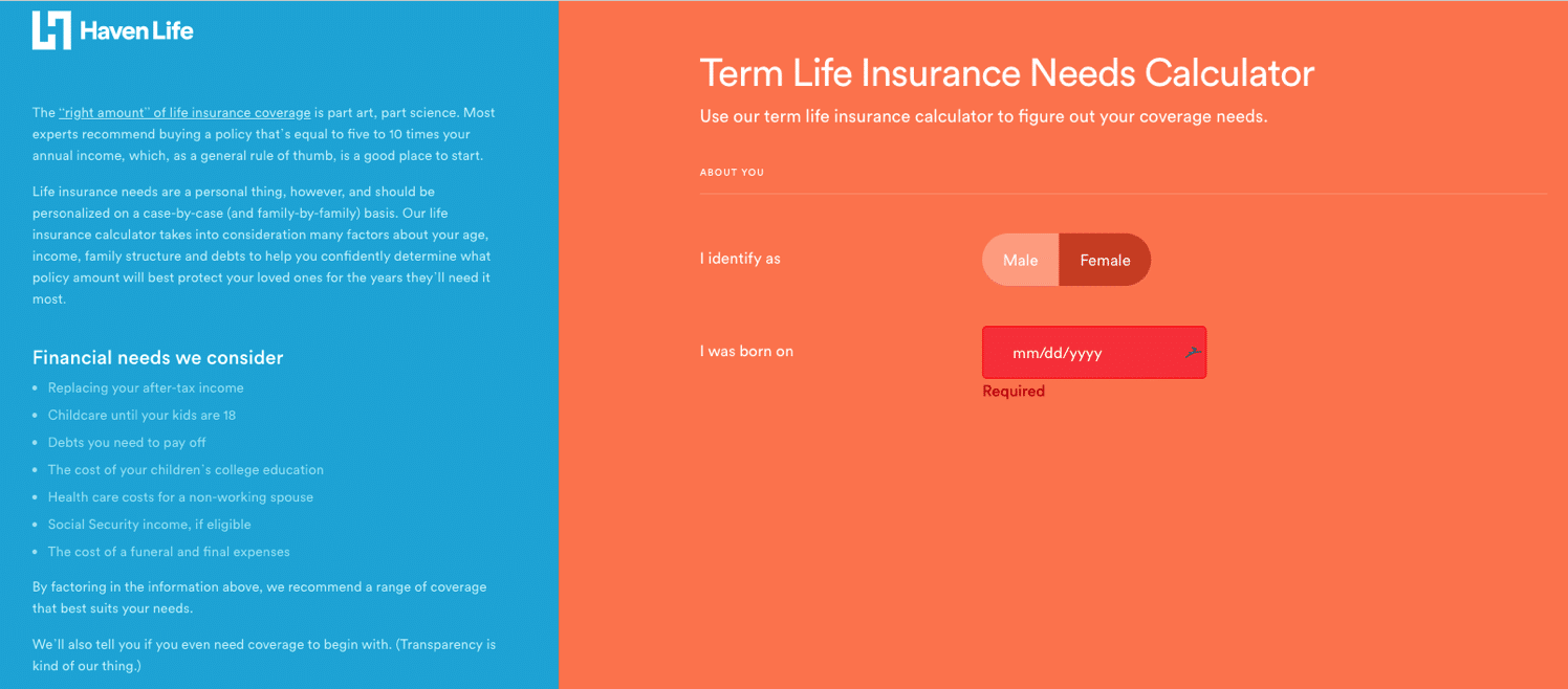 Haven life insurance calculator screenshot