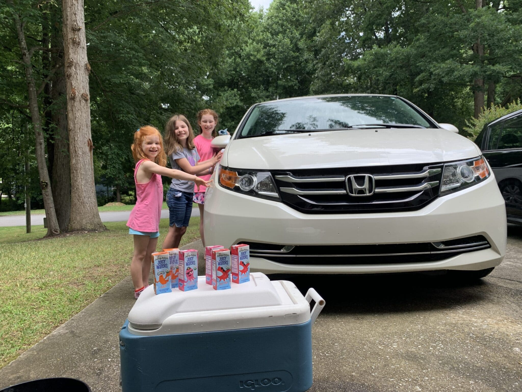 Kids washing car