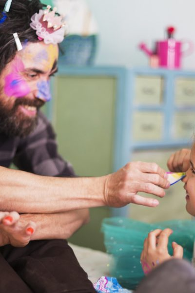 Man and daughter beauty school