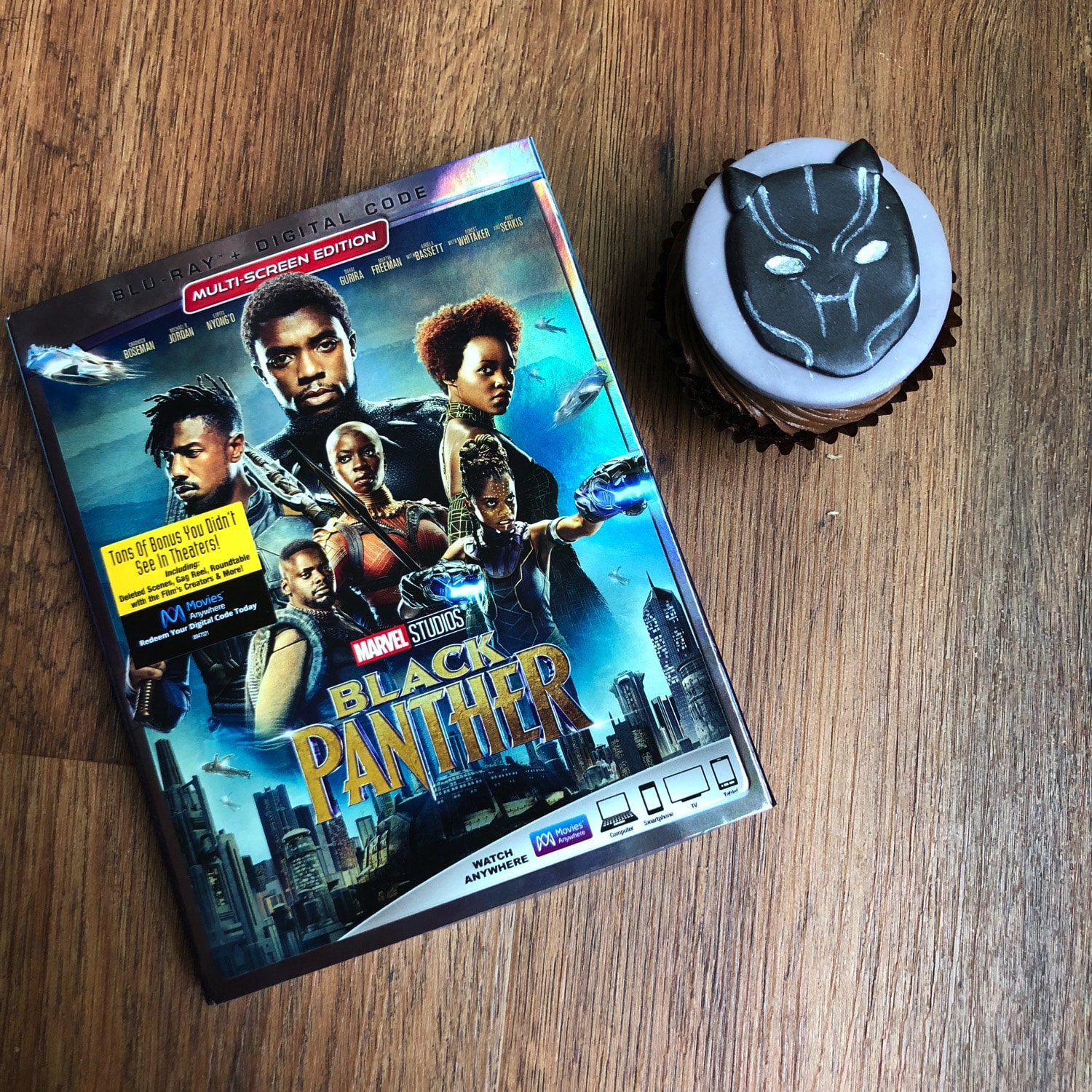 Black Panther Blu-ray and cupcake