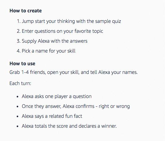 amazon blueprint how to create quiz