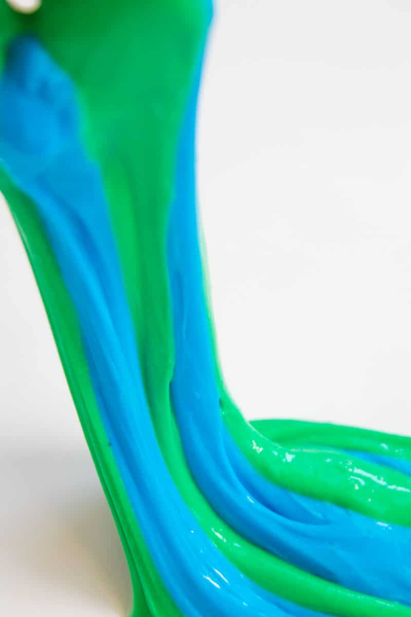 blue and green striped slime