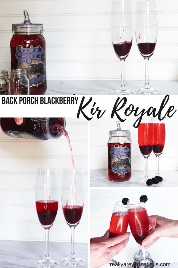 A slightly sweet and slightly fruity Kir Royale beverage with homemade blackberry puree and Blackberry Moonshine