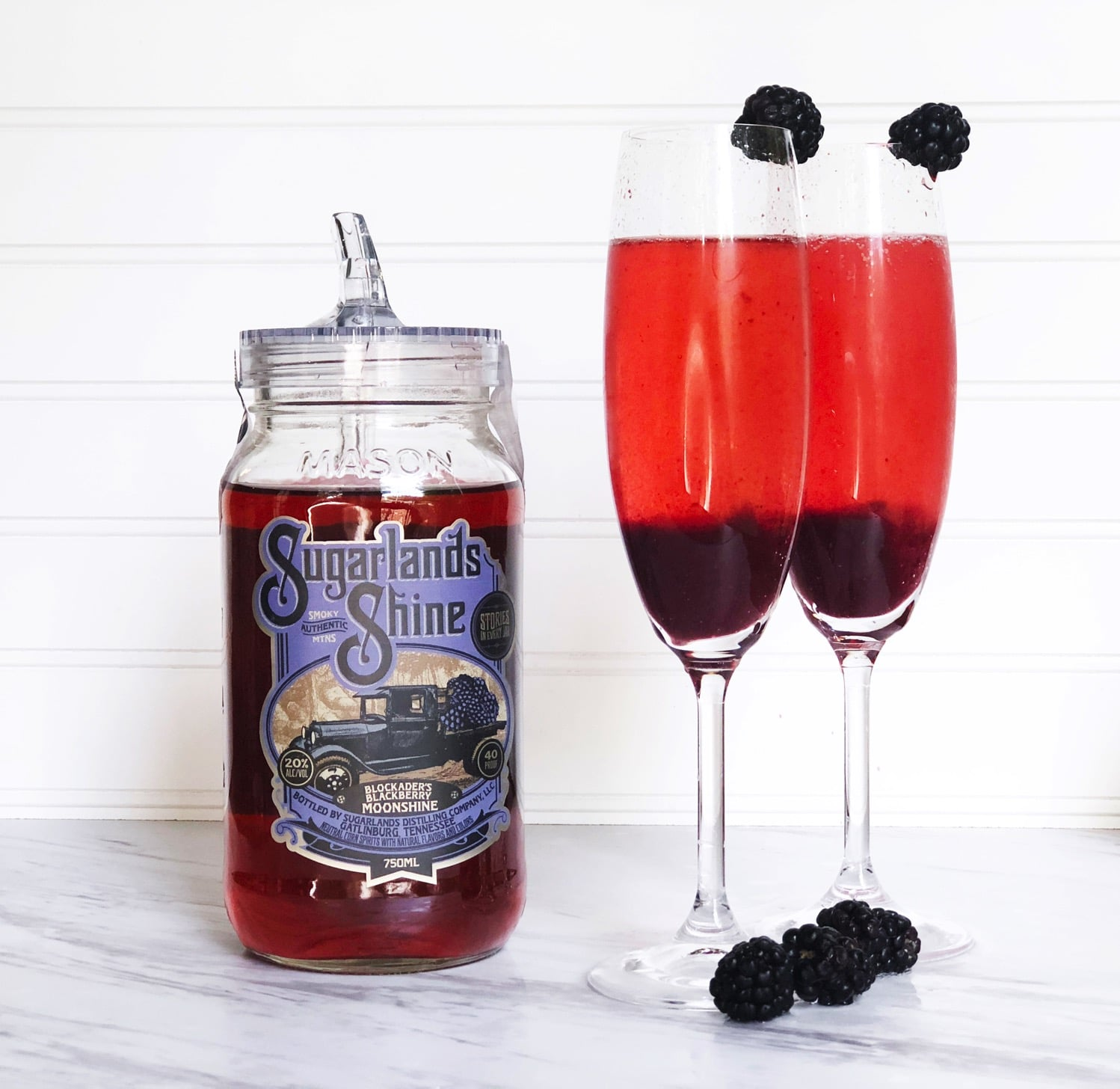 Kir royale with moonshine