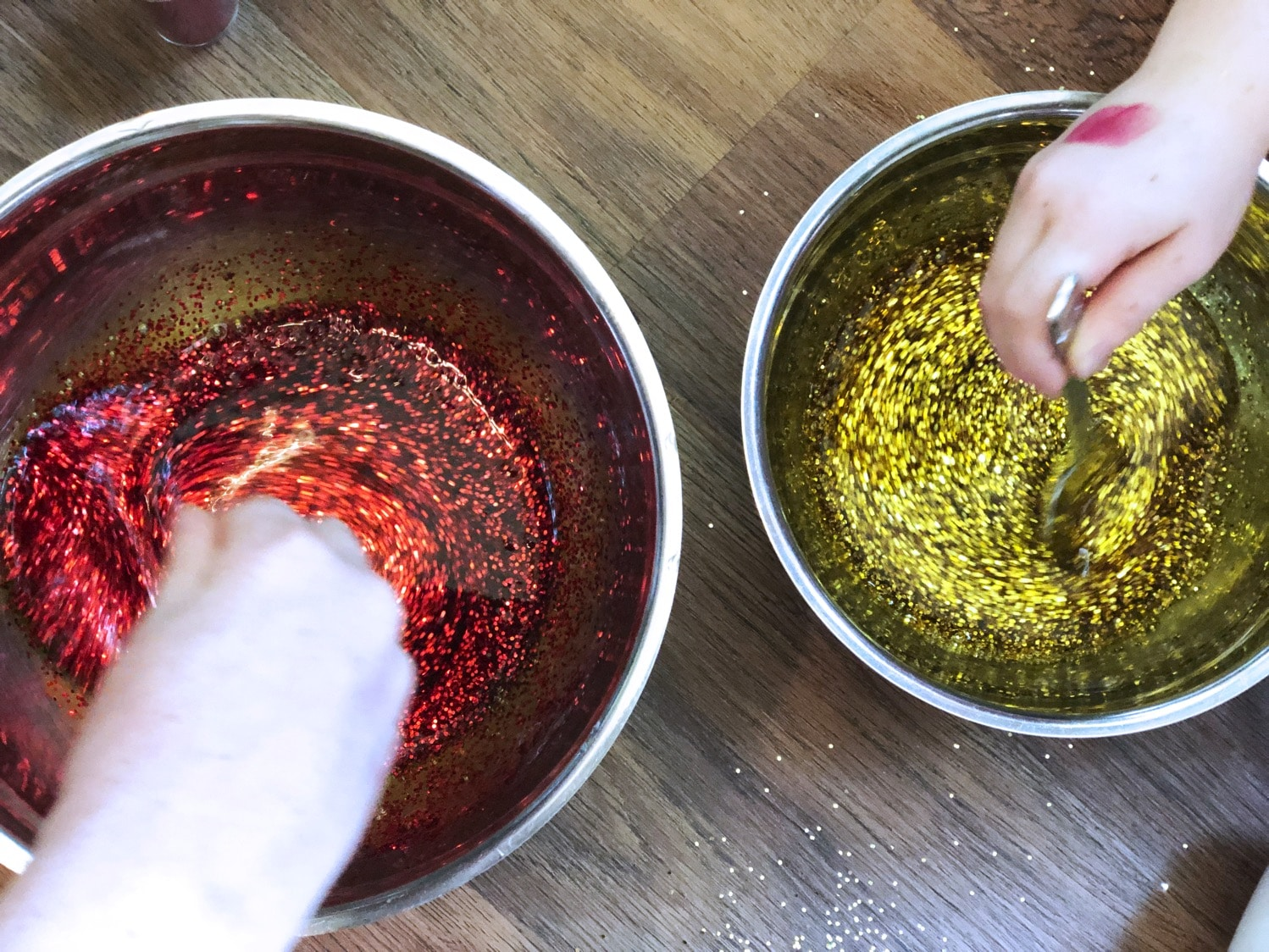 Stirring glitter slime