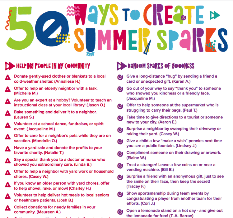 50 ways to create summer sparks