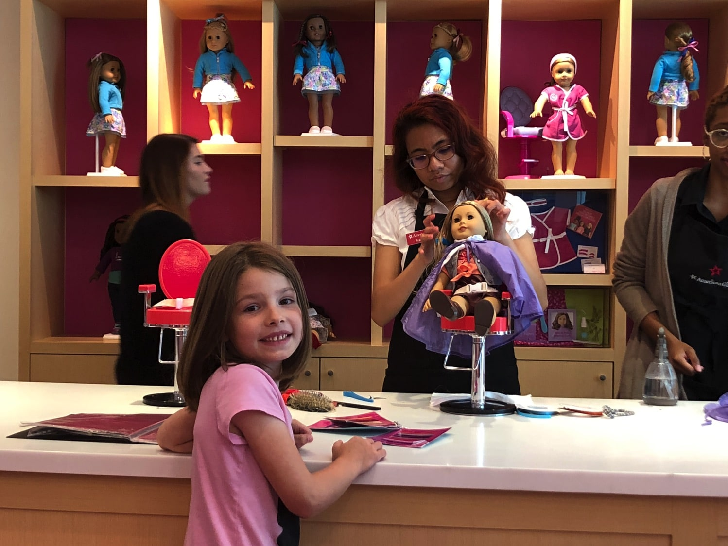 american girl hair styling at the doll hair salon