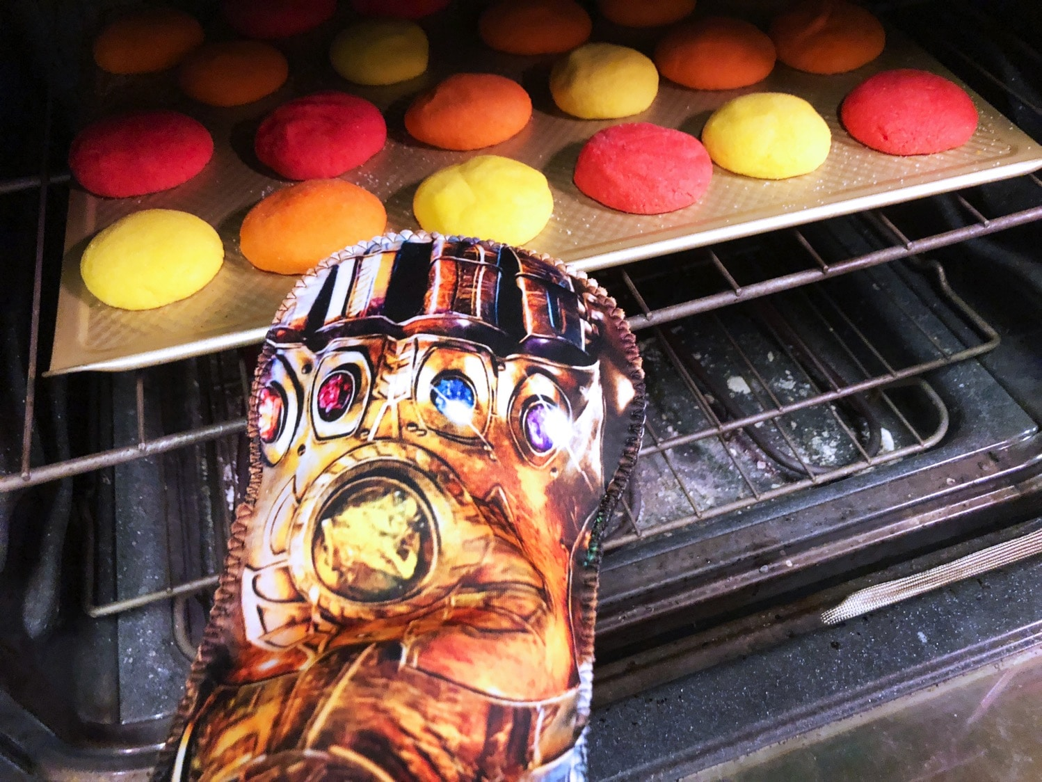 removing infinity stone cookies from the oven