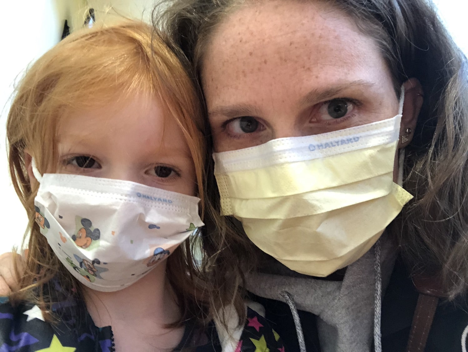 B and Mommy in masks
