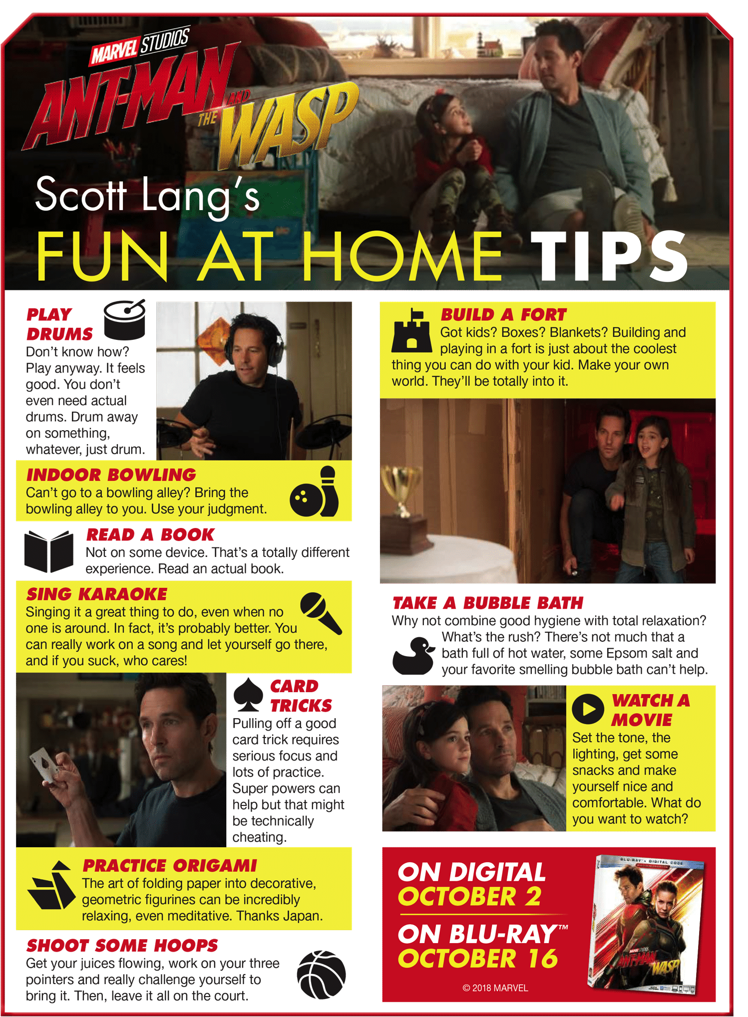Ant man and the wasp things to do at home