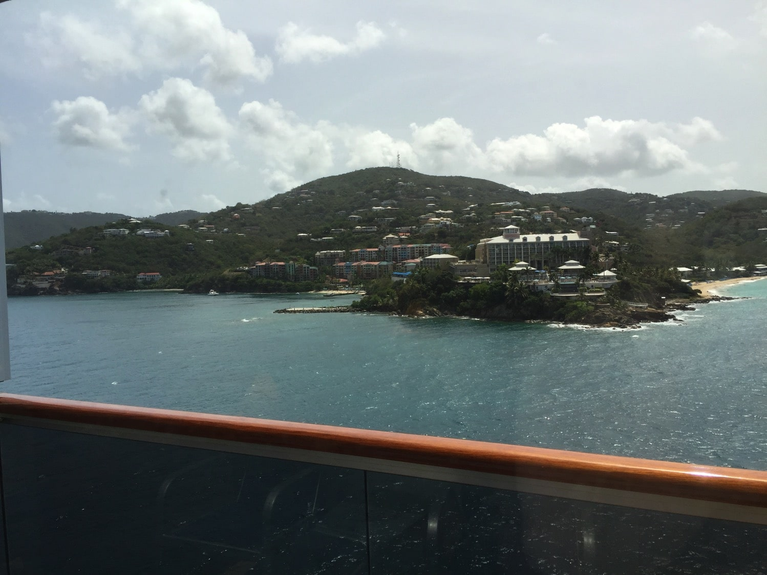pulling into St. Thomas US Virgin Islands on Carnival Cruise