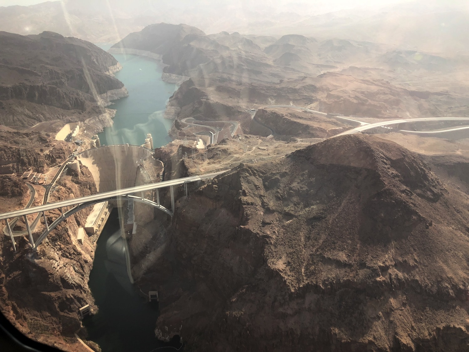 the hoover dam from a helicopter