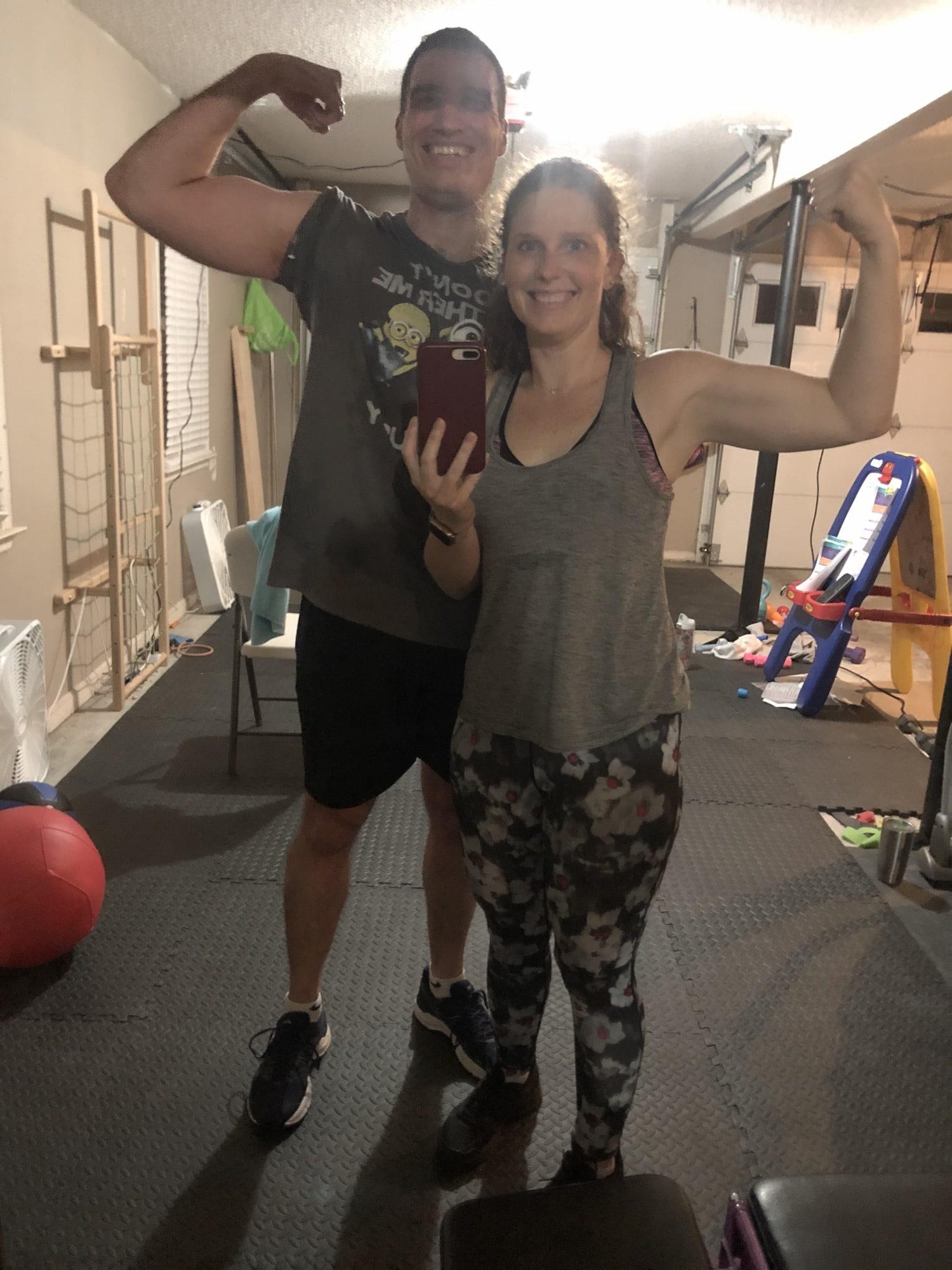 post garage gym workout selfie