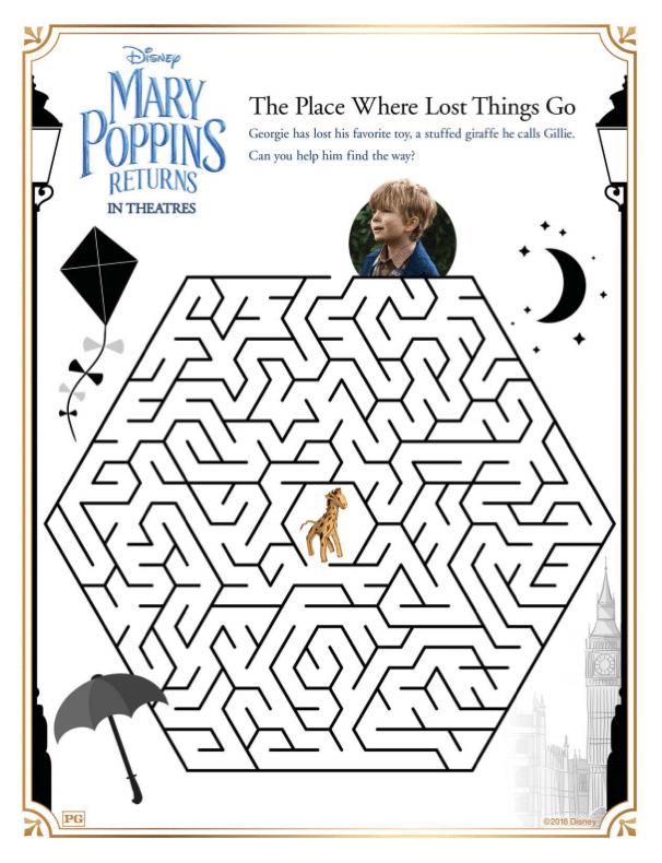 mary poppins returns activity sheet