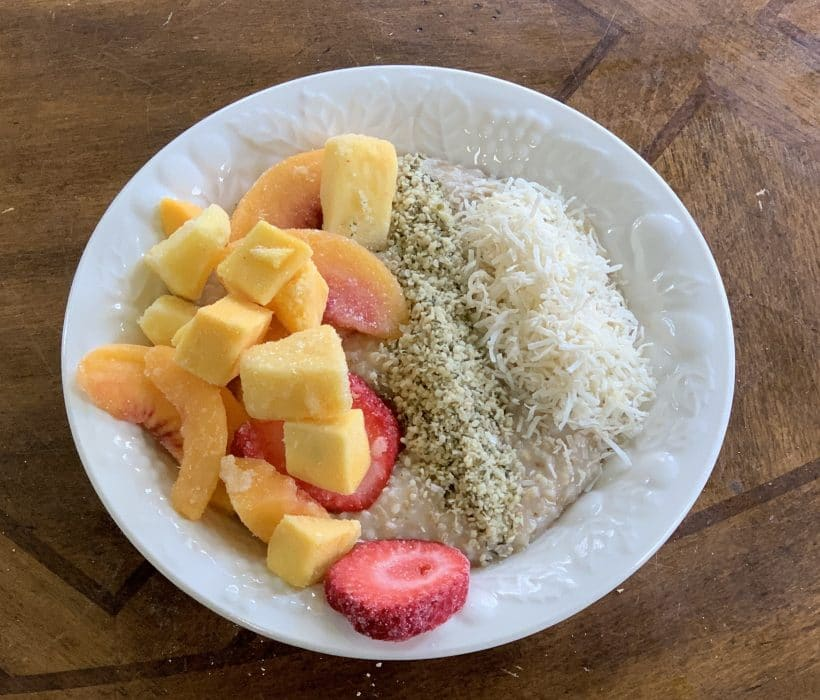 steel cut oats with fruit, coconut and hemp seed