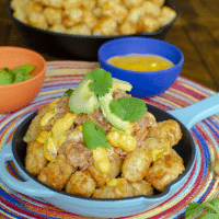 Gluten-free and Dairy-Free Totchos Recipe with BBQ Curly's Sauced Chicken