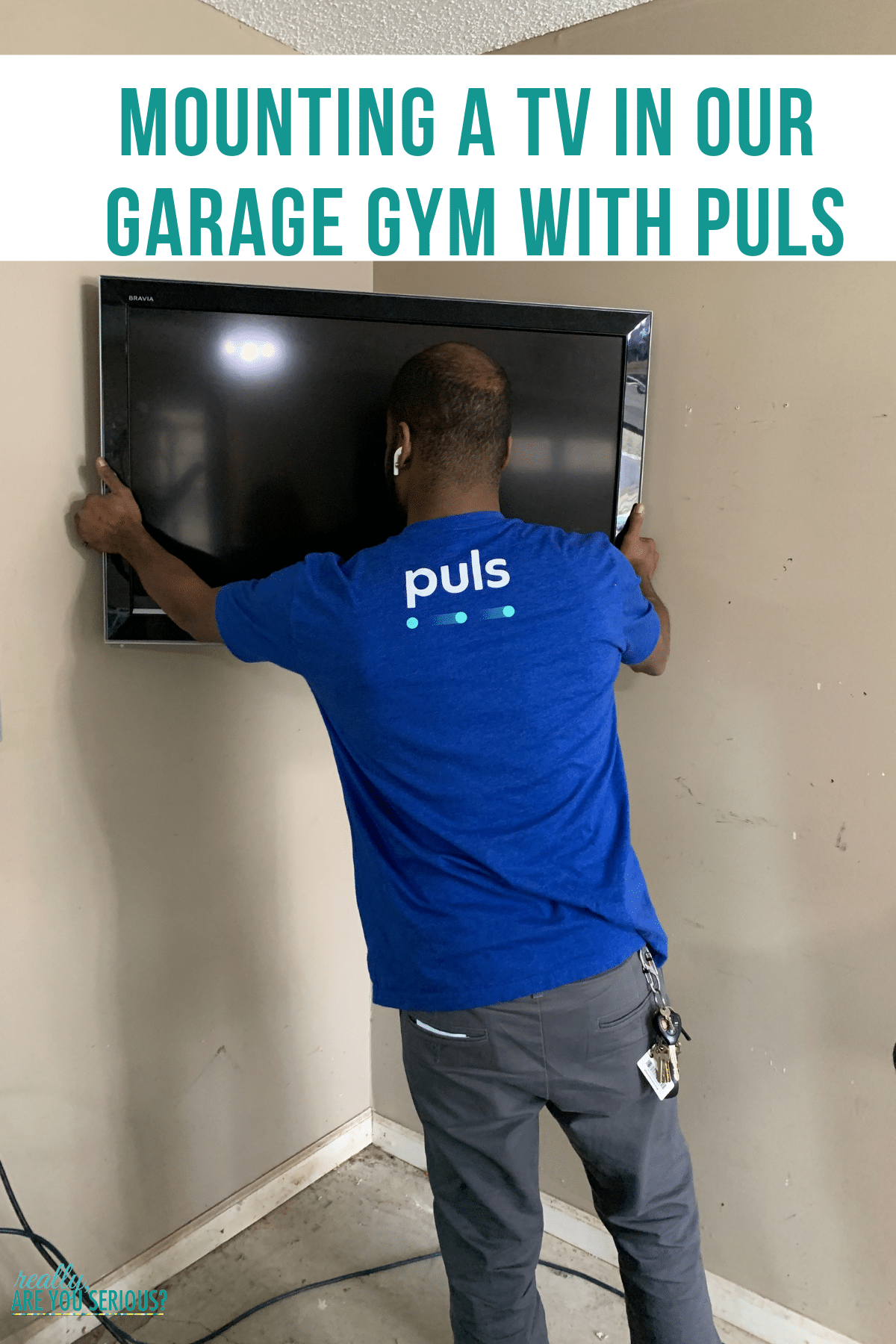 Mounting a tv in our garage gym with puls