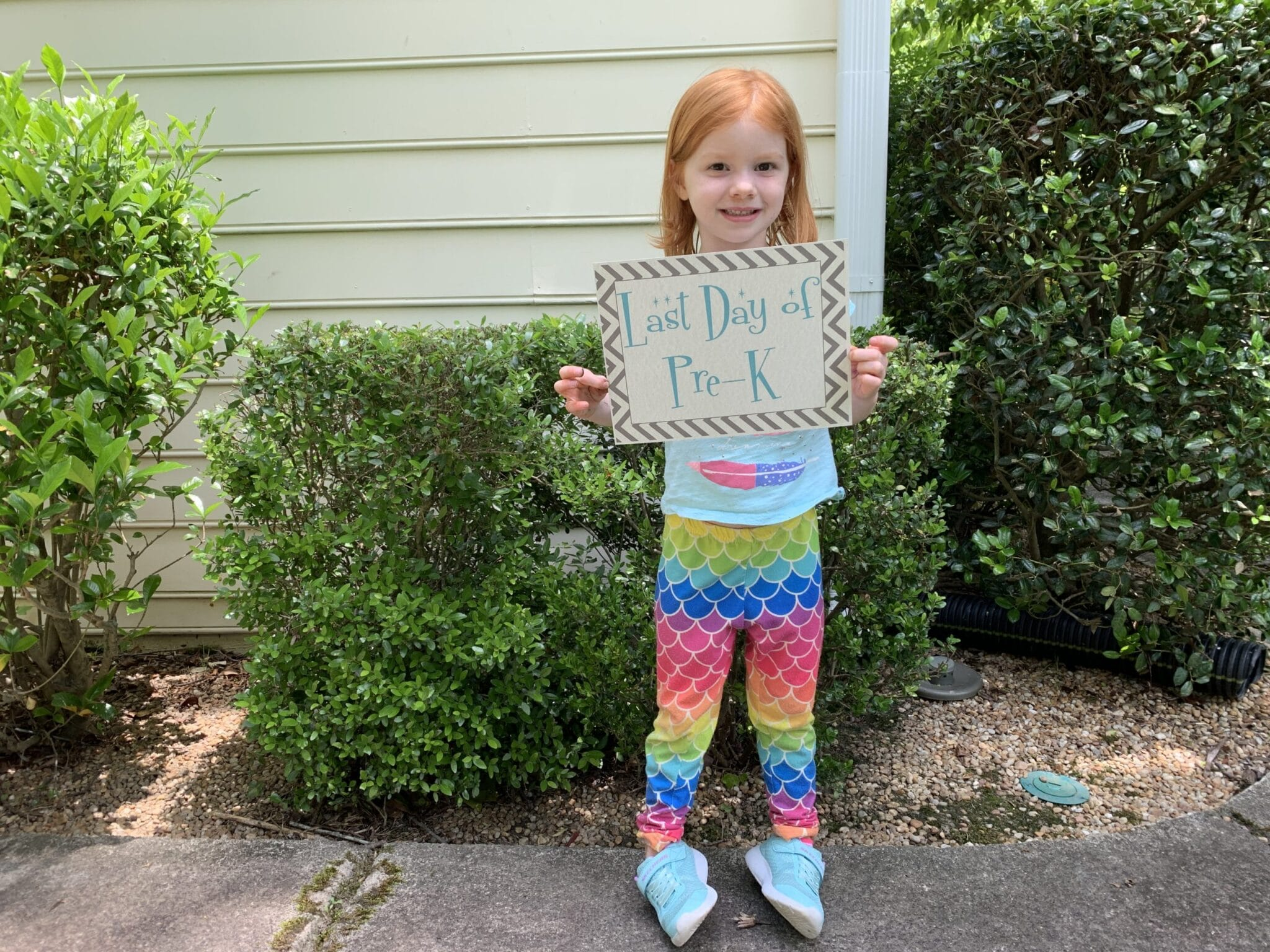 Last day of pre-k with sign