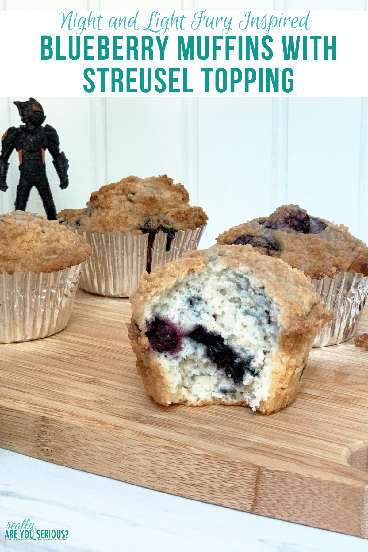 Blueberry Muffins with Streusel Topping inspired by Night and Light Fury
