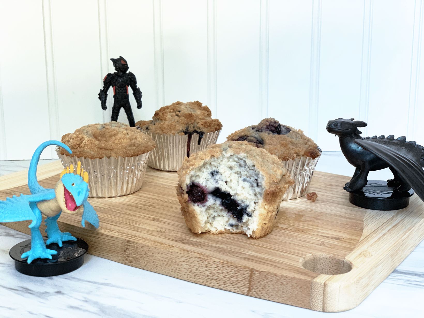 Blueberry muffins with streusel topping light and dark