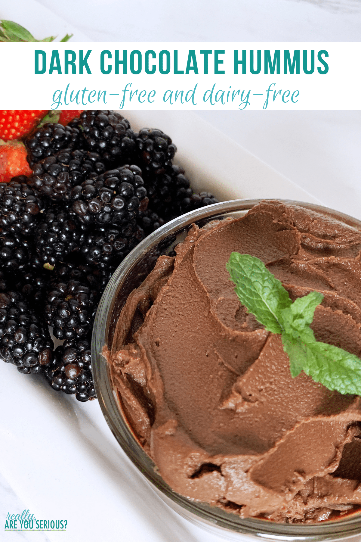 Gluten free and dairy free dark chocolate hummus