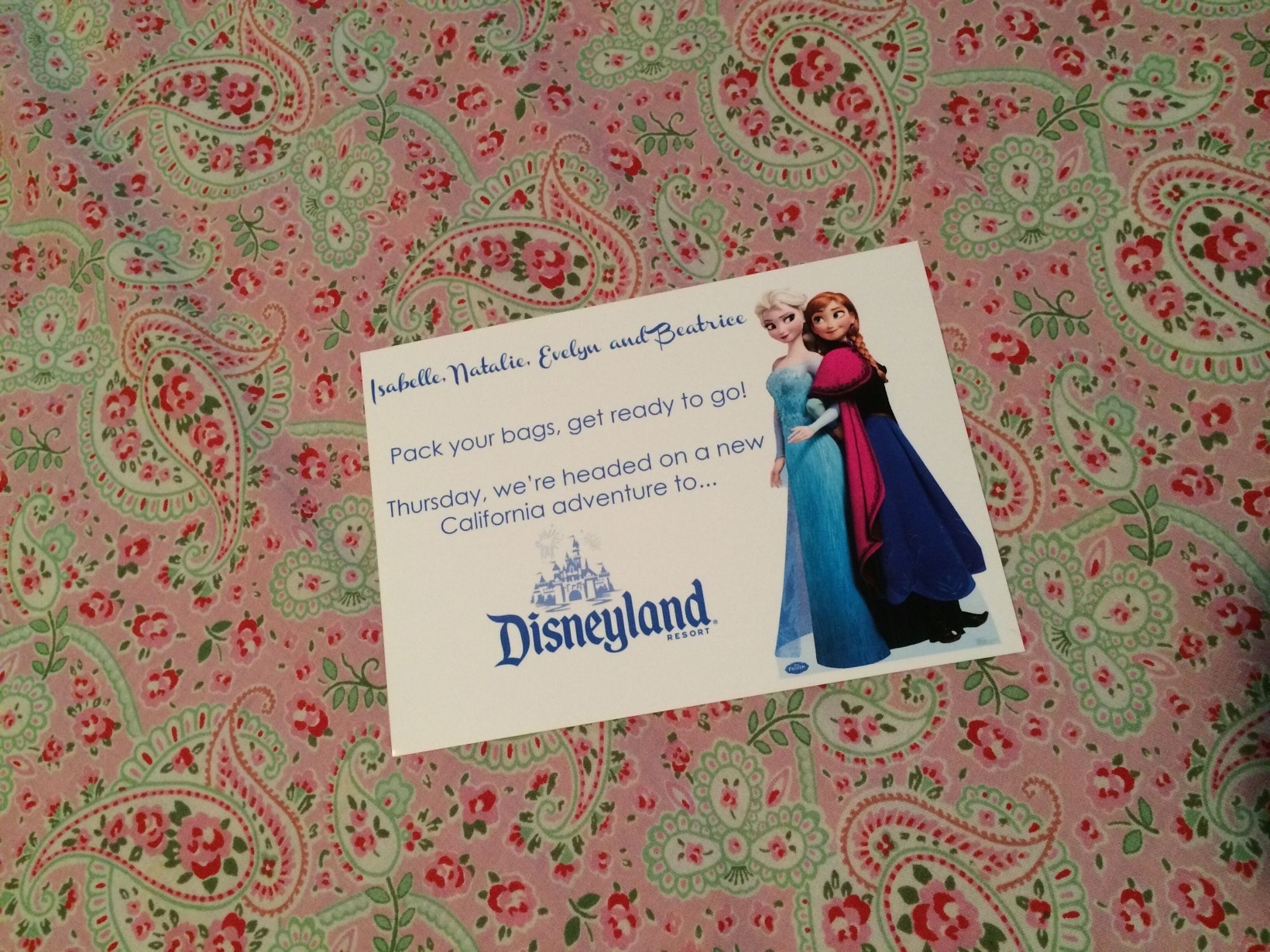 Going to Disneyland with a card