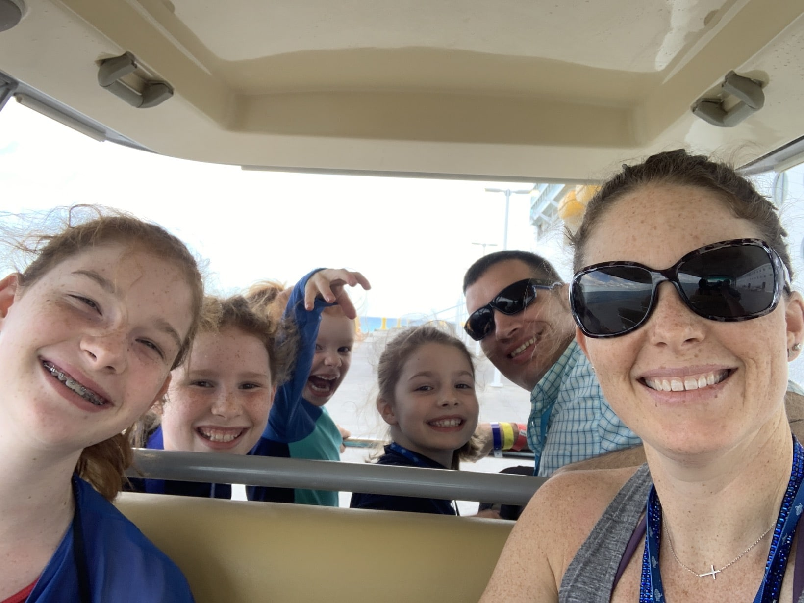 on the tram at perfect day at coco cay