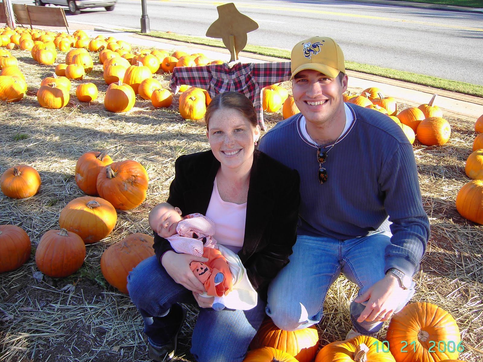 Pumpkin patch with baby