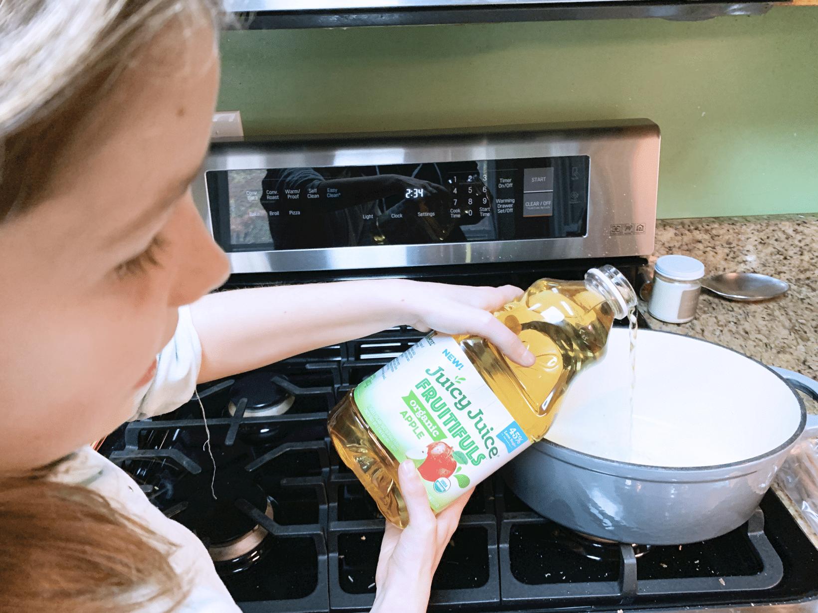 Pouring juicy juice