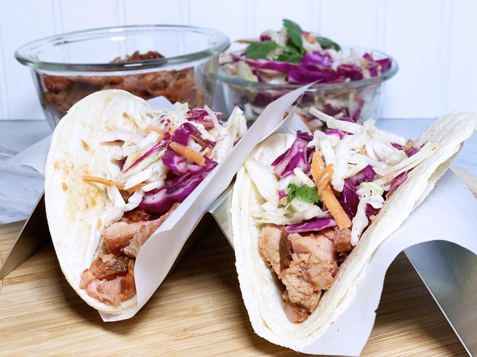Rib tacos with slaw and meat f