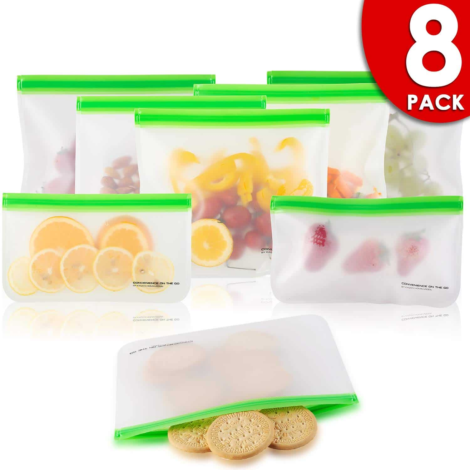 Reusable Storage Bags (8 Pack) Silicone and Plastic Free Ziplock for Food