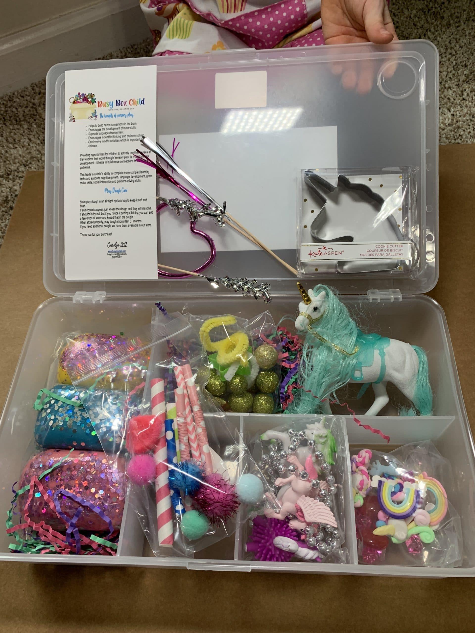 busy box child sensory play kit unicorn kit
