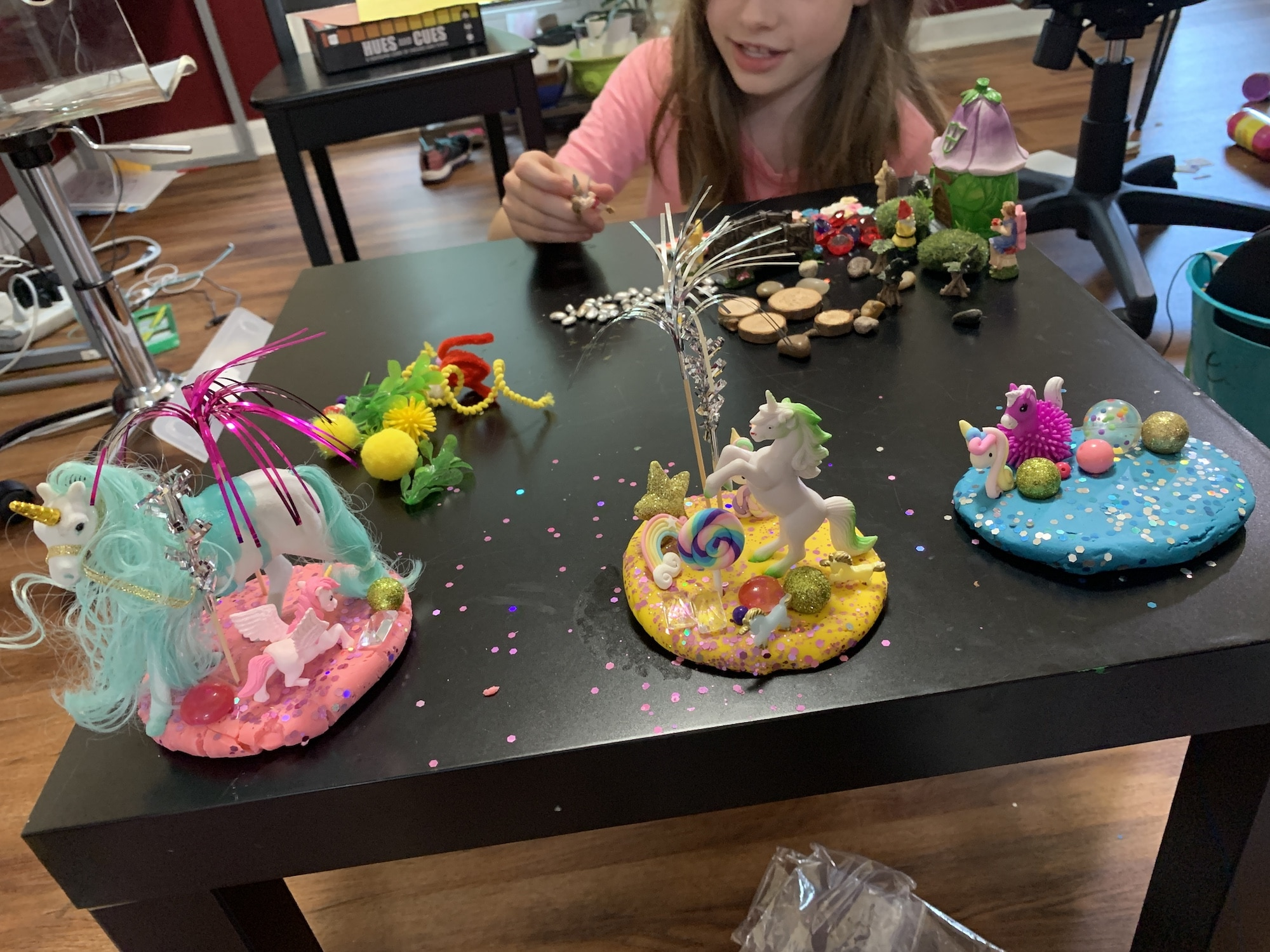 playing with busy box child sensory play kit fairy garden kit