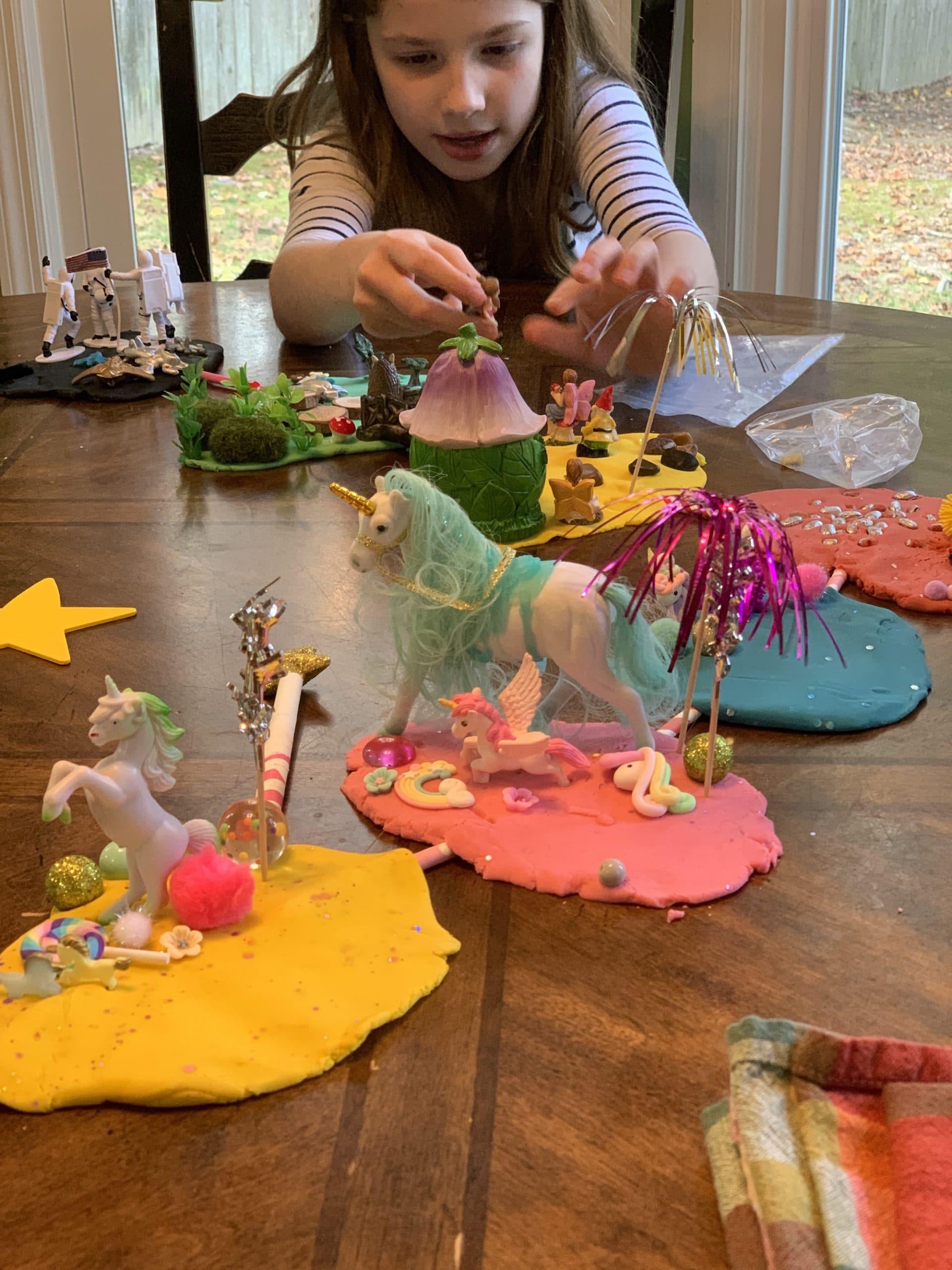 playing with busy box child sensory play kit unicorn kit mixed