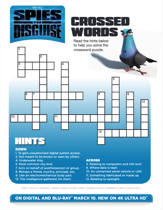 spies in disguise cross word puzzle