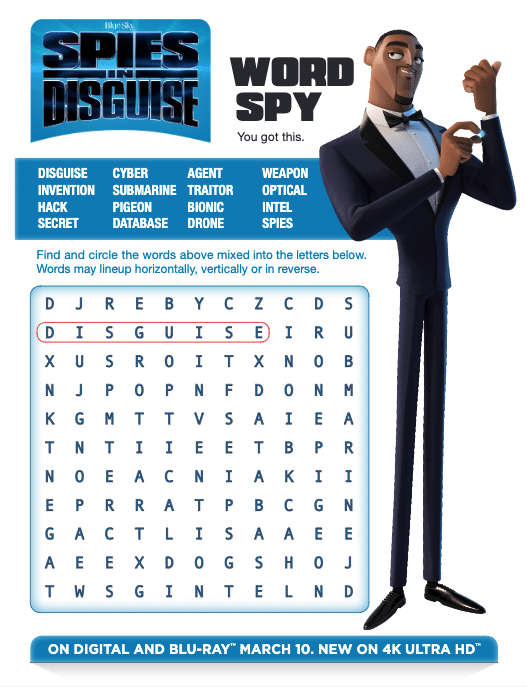 spies in disguise word search