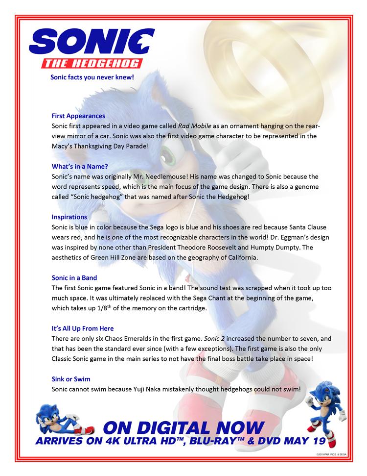 Sonic Sega Fun Facts