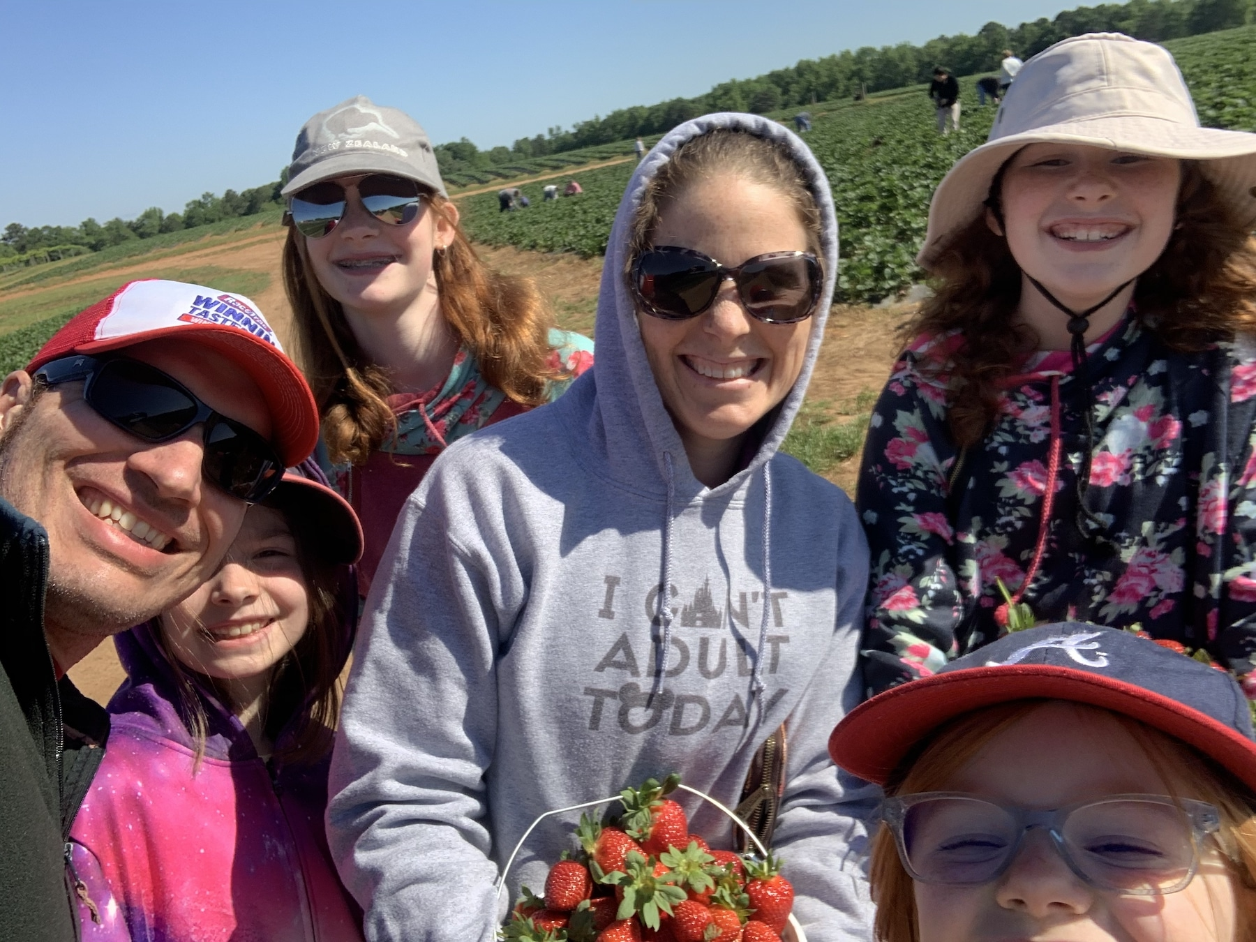 family shot strawberry picking mommy and me monday
