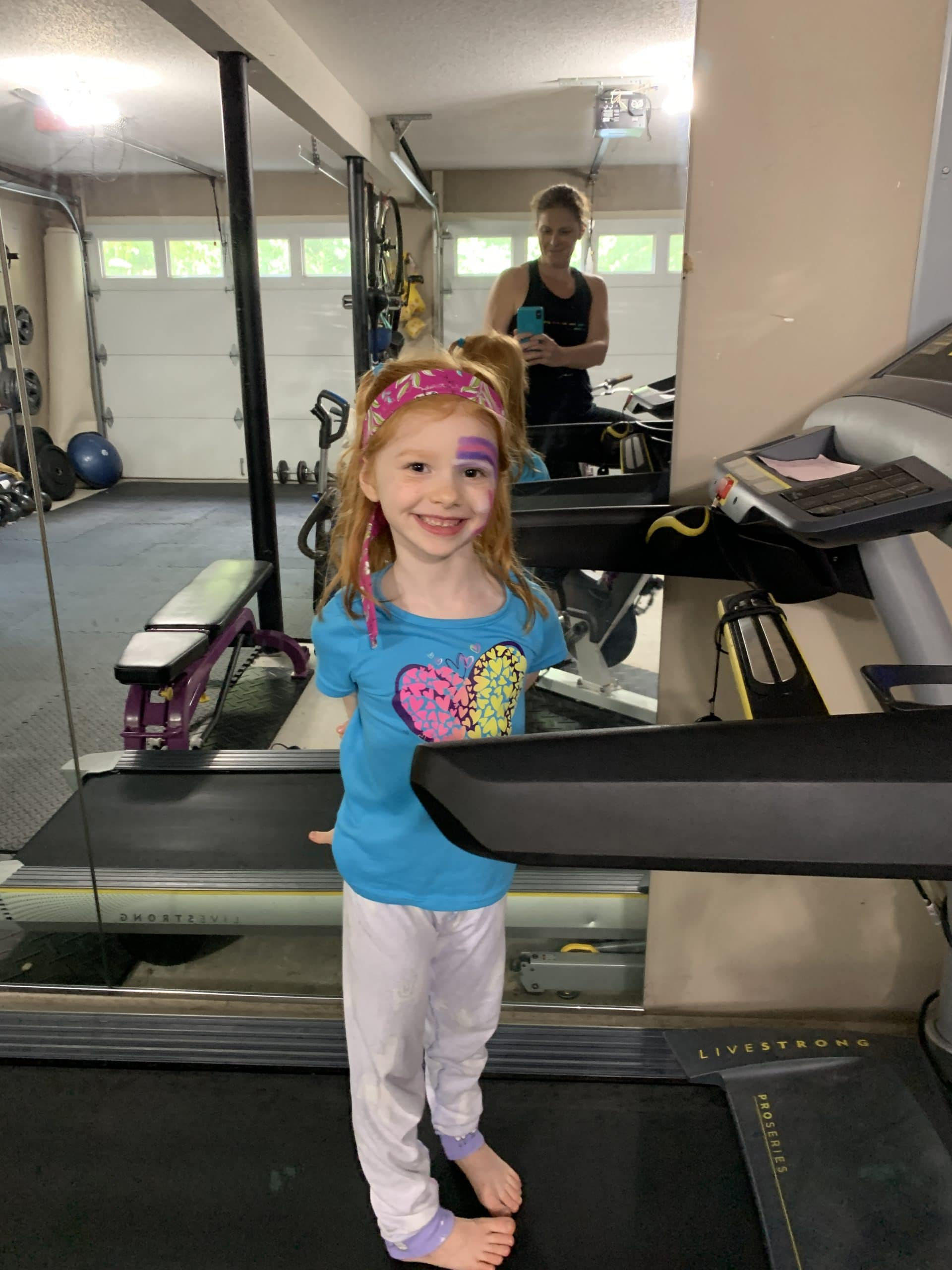 Exercising with B on the treadmill