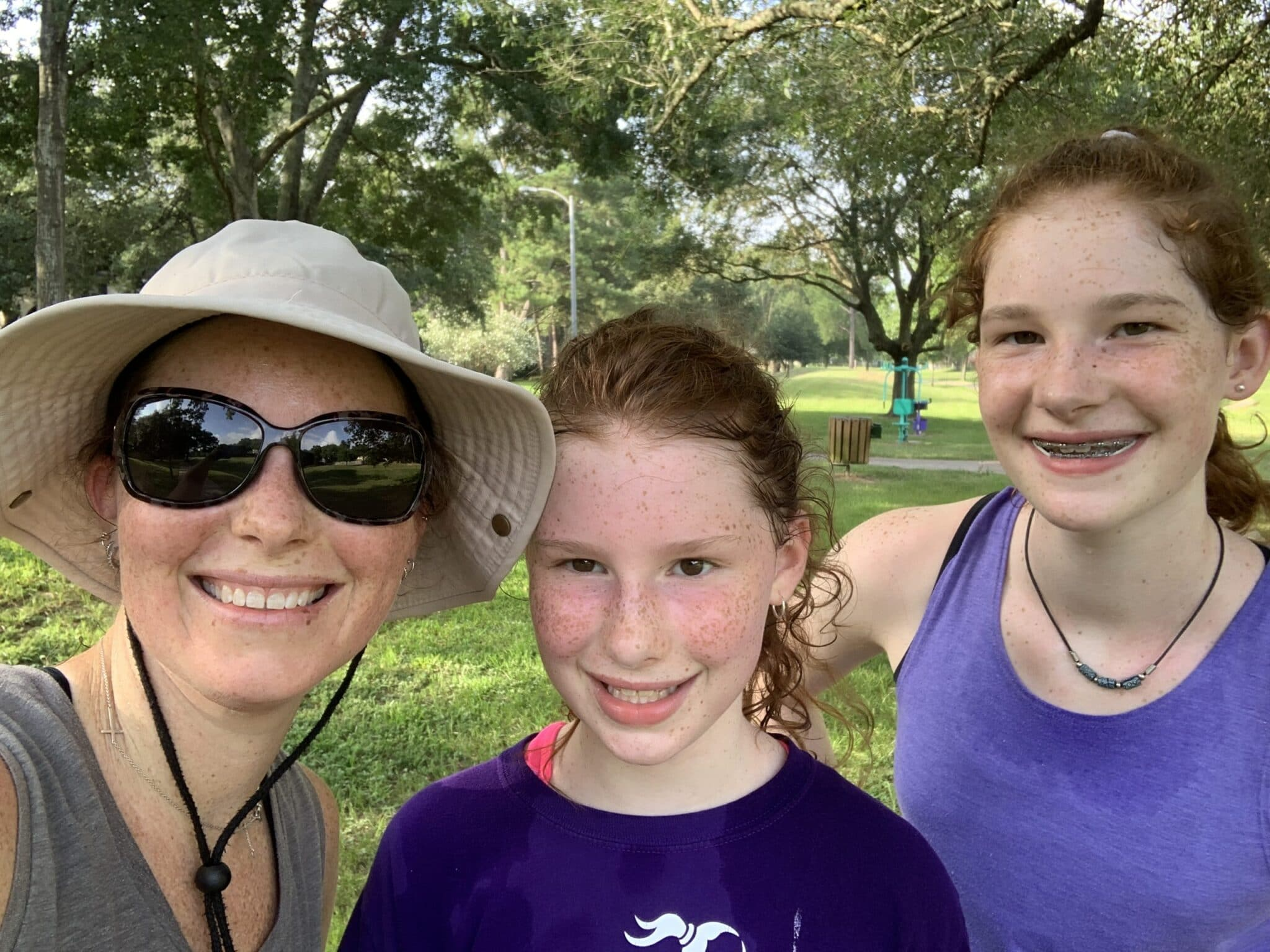 Mom and daughters after a 2 mile run