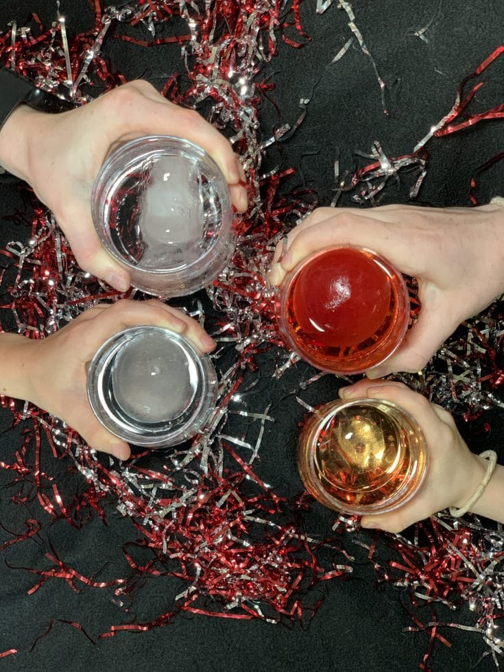 new years eve mocktail with ball drop ice