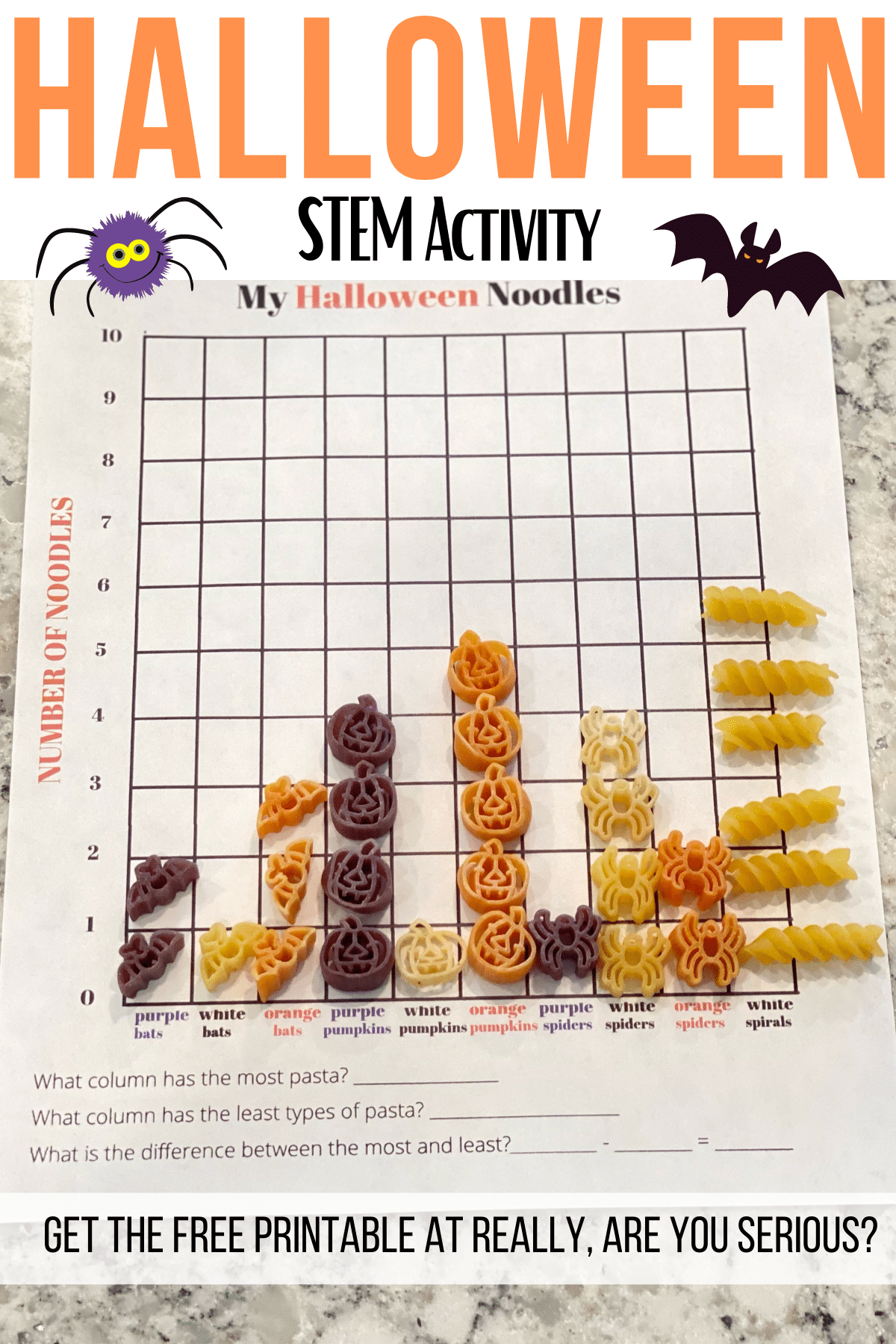 halloween noodle activity sheet free printable