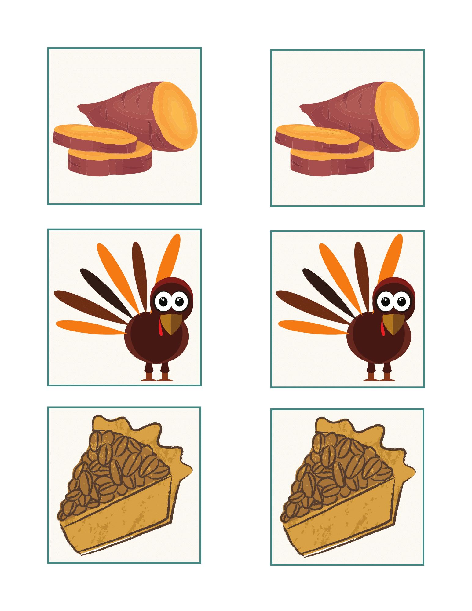Kids Thanksgiving memory game free printable